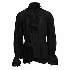 Men Gothic Shirt Top Victorian Medieval Ruffle Pirate Puff Sleeve Bandage