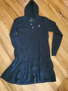 Girls Black Ralph Lauren Polo Hooded Pique Knit Ruffle Long Sleeve Dress XL 16