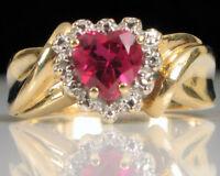 DESIGNER CR 10K YELLOW PLUMB GOLD RUBY HEART DIAMOND RING S6 LOVE VALENTINE !!