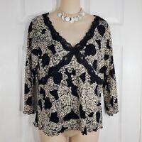 INC Size Large Beige & Black Lace Trim 3/4 Sleeve Shirt Top Blouse V Neck Womens