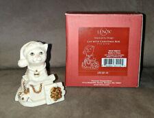 Lenox Cat With Christmas Box Figurine Rare Htf In Box # 826415 Rare Htf Euc