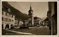 Altdorf AK ~1920/30 Partie am Dorfplatz mit Tell Denkmal Straßenbahn Tram AK