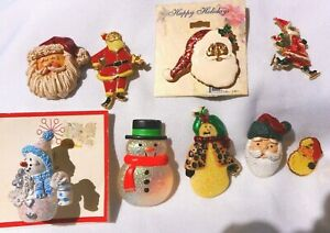 Christmas Holiday LOT 6 Santa & 3 Snowmen Beatrix Hallmark  PINS #8