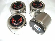 1977 - 1981 TRANS AM SNOWFLAKE WHEEL CENTER CAP SET ROUND STAINLESS W/ RED BIRD