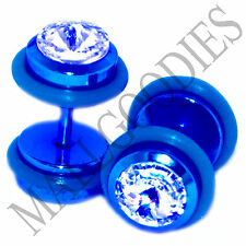 P011 Fake Cheaters Illusion Faux Ear Plugs 16G Look 0G Steel Dark Blue Clear CZ