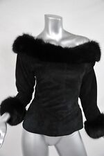 JEAN CLAUDE JITROIS Black OFF SHOULDER Suede+GENUINE FUR Trim Blouse Top Shirt S