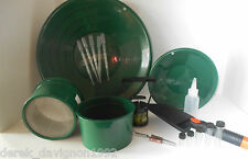 "M10 Green Mini Gold Classifier Screen & Gold Pan Panning Kit 12"" &10"" Pans!"