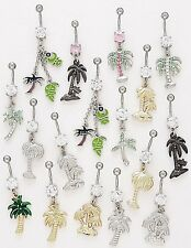 10 CZ Dangle Belly Button Rings Palm Tree Elegant 14g Wholesale Gem Fancy Navel