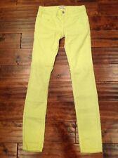 Free People Bright Yellow/Green Corduroy Skinny Leg Pants, Size 25