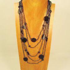 "26"" Waterfall Hematite Multi Strand Snowball Bead Handmade Seed Bead Necklace"