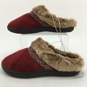 Isotoner Smartzone Slippers Womens 9.5-10 Red Suede Gel Comfort Faux Fur Trim