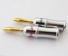 4pcs Nakamichi Gold Speaker Audio Banana Plug Nickel Plated Copper Housing