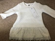 Baby Girls Cream Quilted Dress With Lace Trim 0-3 Months F&F