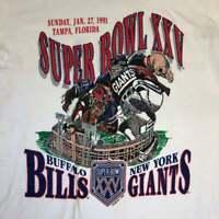 1991 Super Bowl XXV Buffalo Bills and New York Giants Vintage T Shirt S-2XL G188