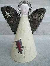 """Rustic Tin Angel Tree Topper Country Christmas Farm House Decor 10-3/4"""" tall"""