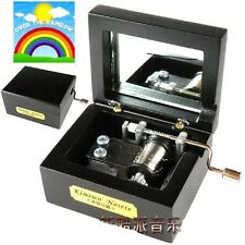 Black Square Silver Hand Crank Music Box : Somewhere Over the Rainbow
