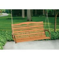 Natural Wood Swing Seat Outdoor Yard Garden Furniture Chair 3-Person Seater