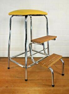 Vintage 1950s Industrial Tubular Chrome, Yellow PVC & Wood Kitchen Step Stool