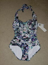 NWT BADGLEY MISCHKA MULTI TIE HALTER RUCHED ONE PIECE SWIM BATHING SUIT 4 $138