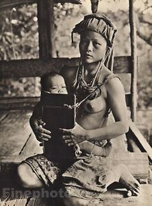 1940 Vintage BORNEO Indonesia MOTHER & BABY In Wooden Carrier By K.F. WONG