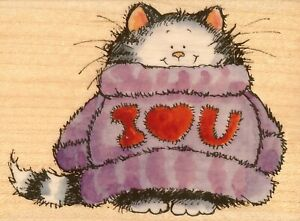 Cat Kitty I Love You Sweater Wood Mounted Rubber Stamp PENNY BLACK 3611J New