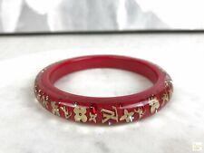 $405 LOUIS VUITTON Red Resin Golden Monogram Crystal Inclusion Bangle Bracelet