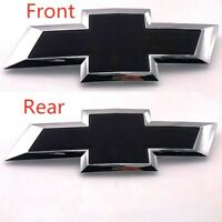 Chrome Black Front Tailgate Bowtie Emblem Badge For Silverado 1500 2500 3500