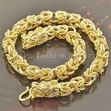 Real 24K Yellow GF Mens Dragon Head Design Link Chain Bracelet Necklace Set 22''