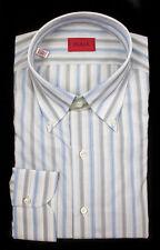 New ISAIA Napoli Gray Blue Striped Extrafine Cotton Dress Shirt 15.5 40 NWT $450