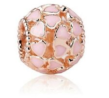 ROSE GOLD PLATED OPENWORK ENAMEL PINK HEART CHARM BEAD FOR BRACELET, NECKLACE