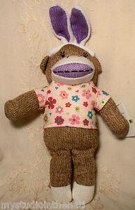 """Dan Dee Sock Monkey Easter Bunny Ears Stuffed Animal Plush Toy Girl Pink 13"""""""