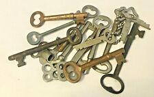 Antique 1920's Skeleton And Padlock Keys Brass And Steel (16) Original+Beauties!