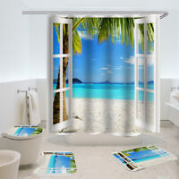 4X Coconut Beach Waterproof Shower Curtain Bathroom Toilet Seat Cover Bath Mat