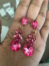 "2.25"" Drop Long Gold Pink Fuchsia Rhinestone Dangle Crystal Prom Earrings"