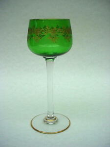 Wonderful  French Baccarat RECAMIER Gold Encrusted Green RHINE WINE GOBLET.