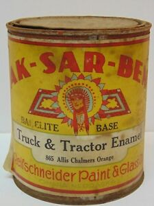 Vtg 1950s AK-SAR-BEN INDIAN CHIEF Allis Chalmers Tractor Enamel Paint Can Tin NE