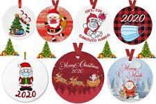Christmas Tree Ornaments 2020 Santa Wearing Mask Hanging Pendant Decor Gift