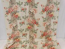 Vtg 40s GARDEN ROSES BARKCLOTH Era Fabric Panel 6+ yds Climbing Roses on Trellis