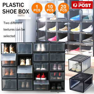1-20X Transparent Shoe Storage Box Stackable Household Drawer Organizer Boxes