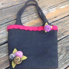 Vintage Black Felt Wool Floral Nepal Purse Handbag Slouch Bag Hobo Handmade 80s