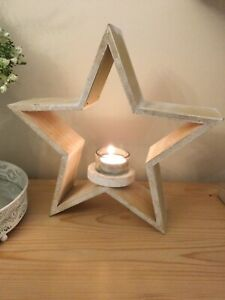 Rustic Wooden Star Tealight Holder Home - Christmas Decoration