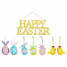 Set of 4 Easter Hanging Decorations (Easter Sign, Chicks, Bunny Rabbits, Eggs)