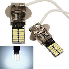 2Pcs Car LED H3 6500K 24-SMD 4014 White Fog Light Auto DRL Bulb Super Bright