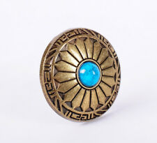 10X Native Navajo Turquoise Flower Copper Leathercraft Saddles Conchos Screwback