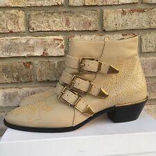 Chloe Suzanna Susan Susannah Ivory Cream Susanna Studded Ankle Boots 40 $1380