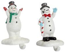 2 Metal Retro Snowman Christmas Stocking Holder Hanger