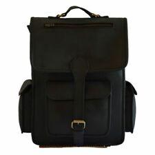 """Leather Messenger Laptop Rucksack Vintage Backpack Bag 16"""" Men's Pure Wax Black"""