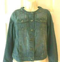 Christopher & Banks Women's S Blue Faded Cotton Denim Long Sleeve Jacket
