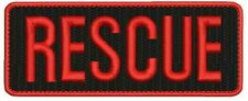 RESCUE embroidery Patches 2x5 hook ON BACK red letters and border