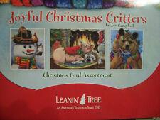 Leanin Tree Lg Christmas Card Set Joyful Christmas Critters Bear Pig Fox New !